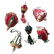 Handmade 60's-70's Beaded Sequin Christmas Ornament Set Of Six