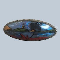 Colorful Art Deco Morpho Butterfly Wing Tropical Pin