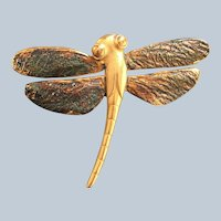 Figural Gold Tone Unique Dragonfly Pin