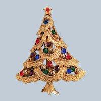 Signed JJ Rinestone Christmas Tree Pin Book Piece