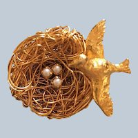 1950's Jeanne Figural Gold Tone Bird Nest Pin