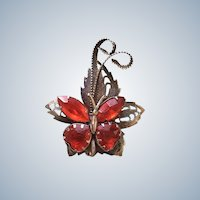 Art Deco Austria Red Rhinestone Butterfly Pin