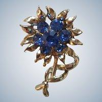Coro Blue Rhinestone Figural Flower Pin