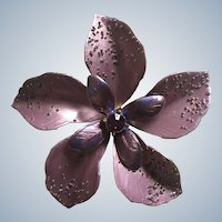 Large Metal Lavender Purple Rhinestone Flower Pin