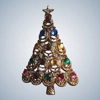 Quality Vintage Rhinestone Christmas Tree Pin Book Piece