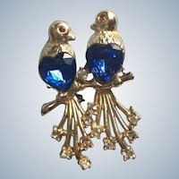 Figural Vintage Rhinestone Love Birds Pin