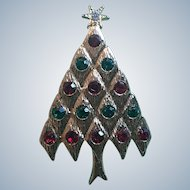 Lia Signed Rhinestone Christmas Tree Pin