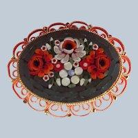 Italian Micro Mosaic Filigree Orange White Sage Floral Pin