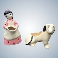 1950s California Brayton Laguna Pink Sally Fickle and Dachshund Planter Set