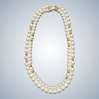 Double White and Gold Beaded Napier Necklace