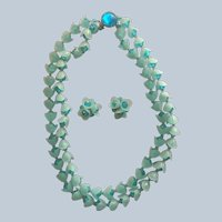 West Germany Faceted Turquoise Blue Bead Necklace Clip Earring Set