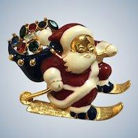 Vintage Rhinestone Enamel Skier Santa Claus Pin