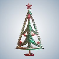 Vintage Modernistic Christmas Tree Pin With Red Rhinestone Star
