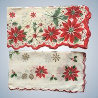 Vintage Poinsettia Christmas Hankies