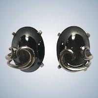 Vintage Whiting & Davis Hematite Clip Earrings