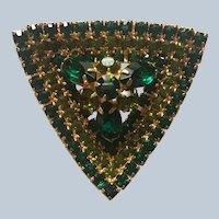 Vintage Triangular 1950's Prong Set Emerald Green Rhinestone Pin Book Piece