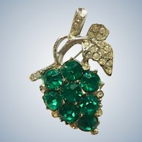 Vintage Pot Metal Green and Clear Rhinestone Figural Grapes Pin