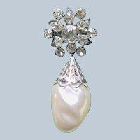 Vintage 1940's Rhinestone Dankly White Faux Pearl Pin