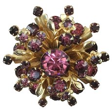 Vintage 1940's-50's Prong Set Pink and Purple Rhinestones Gold Tone Pin