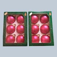 Vintage Krebs Watermelon Velvet Pink Glass Christmas Ornaments Set of Twelve