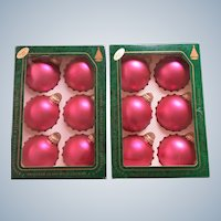Vintage Krebs Watermelon Velvet Pink Glass Christmas Ornaments Set of Twelve