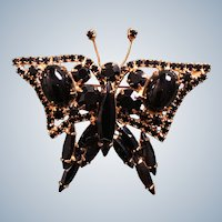 Vintage French Jet Black Glass Figural Butterfly Pin