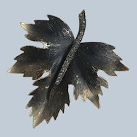 1950's Gold Tone Smoky Black Rhinestone Figural Leaf Pin