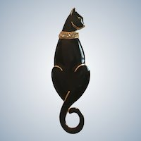 Vintage Trifari Black Enamel Cat Pin With Rhinestone Collar