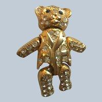 Danecraft Jointed Movable Rhinestone Teddy Bear Pin