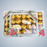 Rauch Industries Vintage Gold Satin Ornament Set of 60 Ornaments With Box