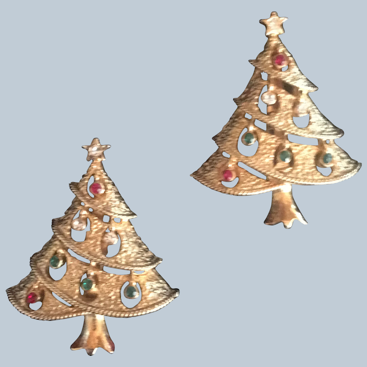 Pair Midcentury scatter pins christmas trees