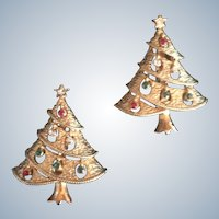 Vintage Rhinestone Christmas Tree Scatter Pin Set