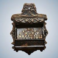 Vintage C. Parker 1870's Cast Iron Wall Match Safe Holder