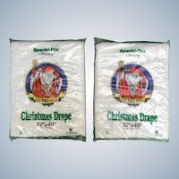 Vintage Sparki-Tex Old World Santa Glittering Christmas Drape