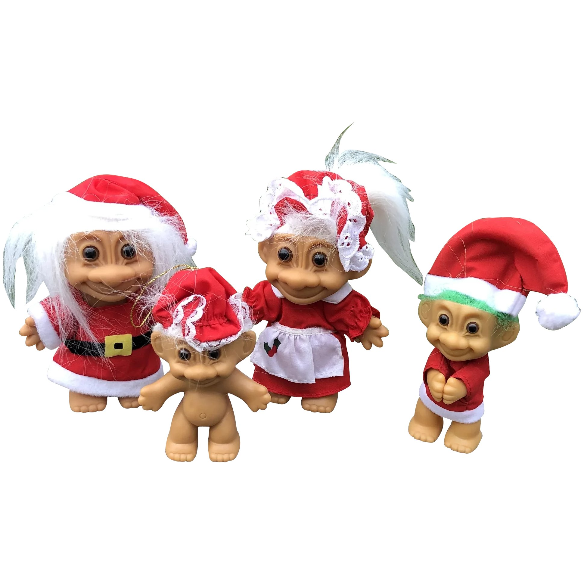 vintage russ berrie christmas santa mrs claus and elf troll dolls cheries collectible treasures ruby lane vintage russ berrie christmas santa mrs claus and elf troll dolls