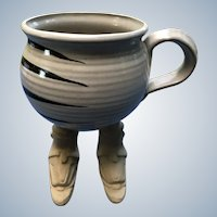 1987 Muddy Waters Pottery Mug With Legs and Snow Skis