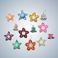 Set of Thirteen Vintage Handmade Beaded Stars and Bells Christmas Ornaments