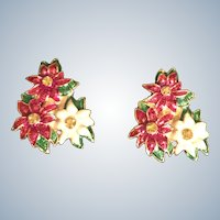 Christopher Radko Christmas Poinsettia Clip Earrings