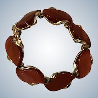 Signed Lisner Rust Colored Thermoset Bracelet