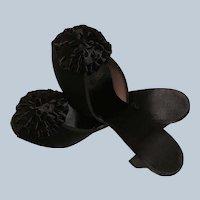Vintage Daniel Green Boudoir Slippers/Shoes Black Satin Mules Slides With Pom Pom