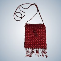 Vintage Bijoux Terner Red Satin Shoulder Beaded Purse