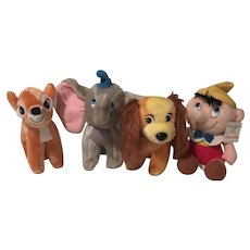 Vintage 1970's Walt Disney Bambi Dumbo Lady and Pinocchio Plush Set