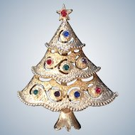 Vintage Signed JJ Jonette Rhinestone Christmas Tree Pin