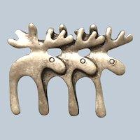 Vintage unique Pewter Triple Reindeer Pin