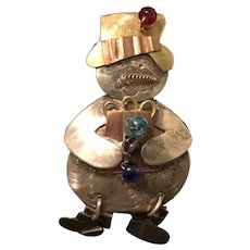 Fun Vintage Mixed Metals Christmas Snowman Pin