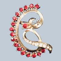 Vintage Coro Red Rhinestone Pin