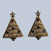1992 Avon Christmas Tree Dangle Clip Earrings Book Piece