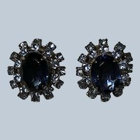 Vintage Elegant Blue Rhinestone Clip Earrings