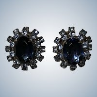 Vintage Elegant Blue Rhinestone Clip Earrings