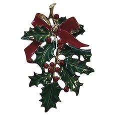 Vintage Gerry Christmas Holly Pin